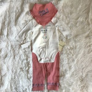 Lucky Brand girls bodysuit and pant with bib set